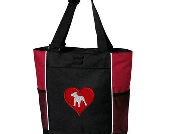 Love Heart Pitbull Zippered Tote Bag - Monogrammed. Embroidered Pitbull Tote Bag. Pitbull Bag. Pitbull Gift. Pitbull Mom Gift. SM-B5160