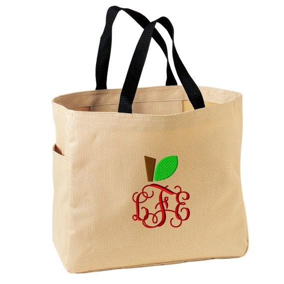 tote bag monogrammed apple monogram tote bag