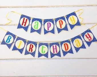 Happy Birthday Banner - Birthday Decorations - Birthday Party - First Birthday - Party Decorations - Party Banner - Birthday Bunting