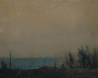Golden Haze. Original 8X10 tonalist landscape oil painting on prepared panel.