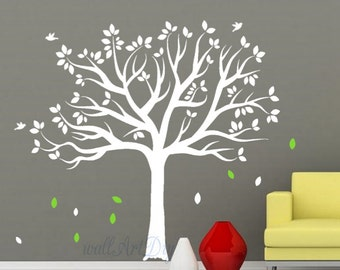 Tree wall decal White tree wall decals Tree and birds wall sticker Large tree wall mural White tree wall decals Nursery tree wall decal