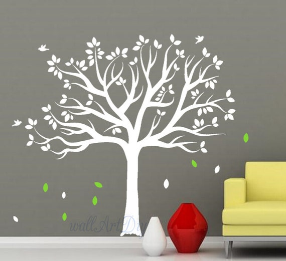 Sticker grand arbre paroi murale arbre blanc mur stickers for Pochoir pour chambre bebe