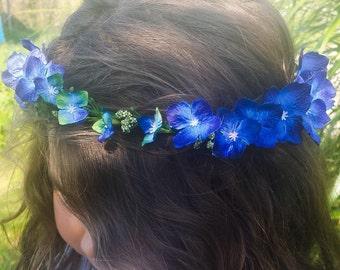 Royal Blue Flower Crown Headband Boho Festival Floral Hair Wreath Halo