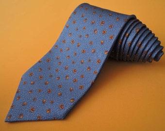 Bvlgari Tie Woven Silk Geometric Repeat Novelty Pattern Blue Vintage Davide Pizzigoni Designer Dress 7 Fold Necktie Made In Italy