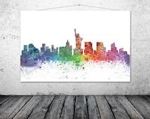 New York City Skyline - New York Gift - New York Art - Statue of Liberty
