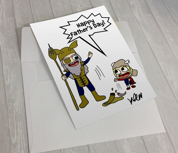 Free Comic Book Day Postcard: Thor Odin Fathers Day Card Illustrated Card Comic Art