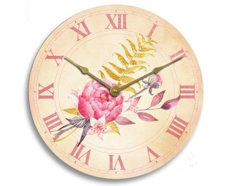 Vintage watercolor flowers designs 10 inch wall clock. Tan and pink colors. CL3219