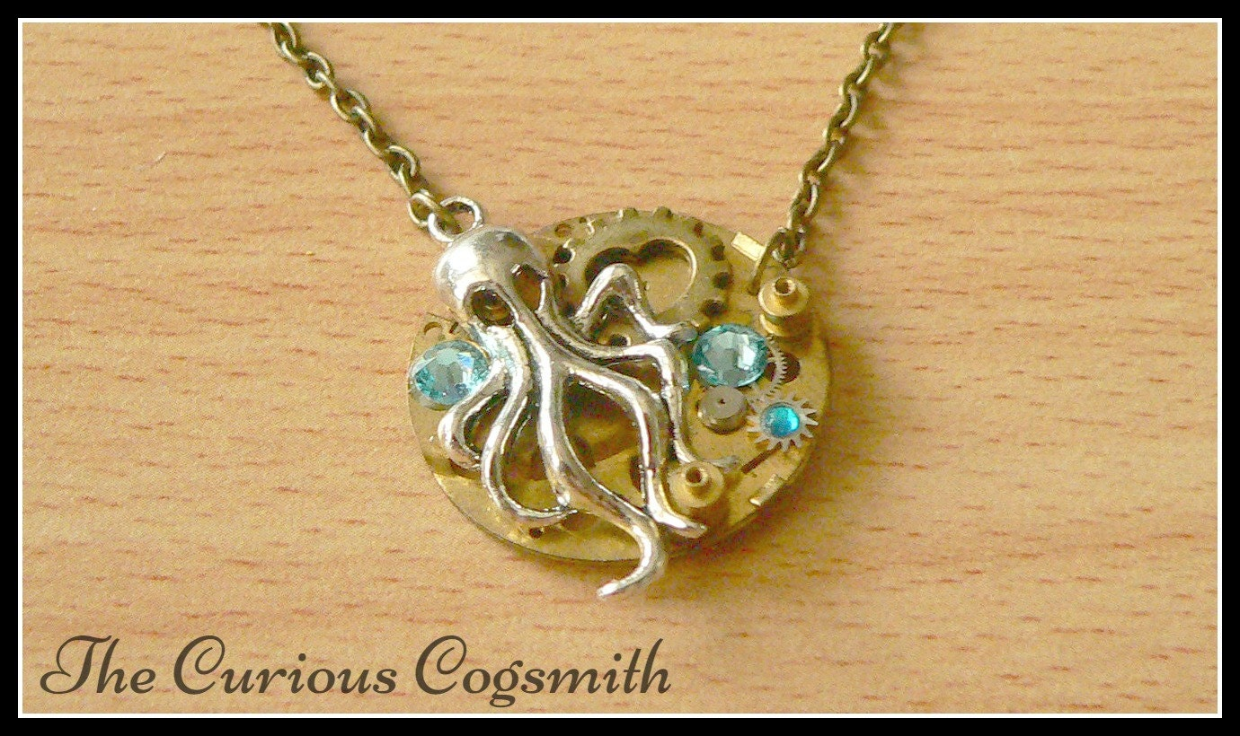 cthulhu steunk necklace steunk by thecuriouscogsmith