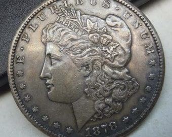 1878 cc Morgan Silver Dollar US Mint in About Uncirculated AU58 condition 1878cc