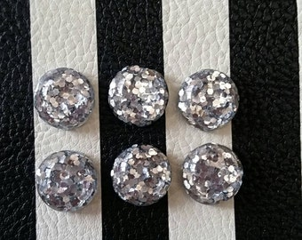 12mm Silver Glitter Resin Cabochons