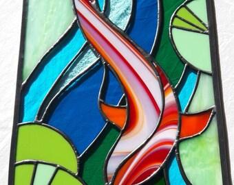 Koi carp stained glass window/wall hanging panel