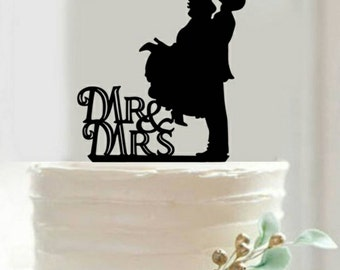Mr. & Mrs. Wedding Cake Topper Bride and Groom Silhouette