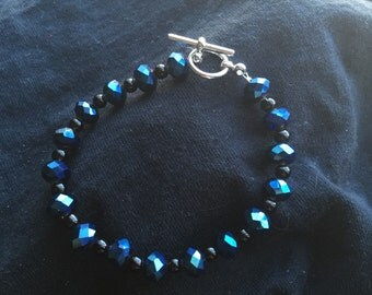 Hand Beaded Navy Blue Bracelet with Toggle Clasp
