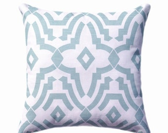 Light Blue Pillow, Snowy Blue Zippered Throw Pillow Cover, Geometric Pillow Cover, Greysh Pale Blue Decorative Pillow, Chevelle Snowy Blue