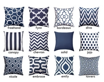 Navy Zippered Pillow Covers - Navy and White Throw Pillow Covers - Geometric Navy Blue Decorative Pillows - Navy Blue Pillow Cushion