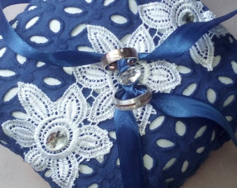 Blue Wedding ring pillow,  Ring Bearer Pillow ,blue  lace ring pillow