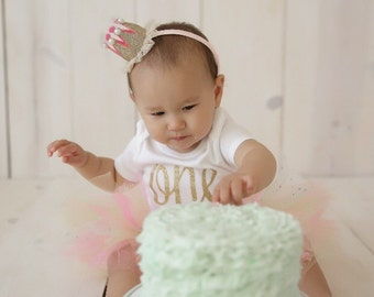 Baby girl pink and gold crown headband - first birthdag headband - gold and pink crown