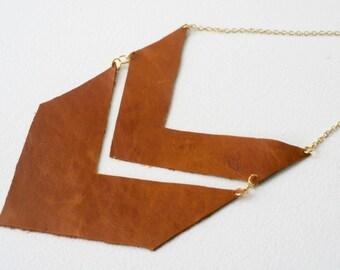Leather Chevron Necklace - Large Chevron Necklace - Leather Necklace - Boho Necklace