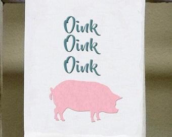 Pink Pig Kitchen Towel, Dish Towel, Oink,oink,oink Pink Pig