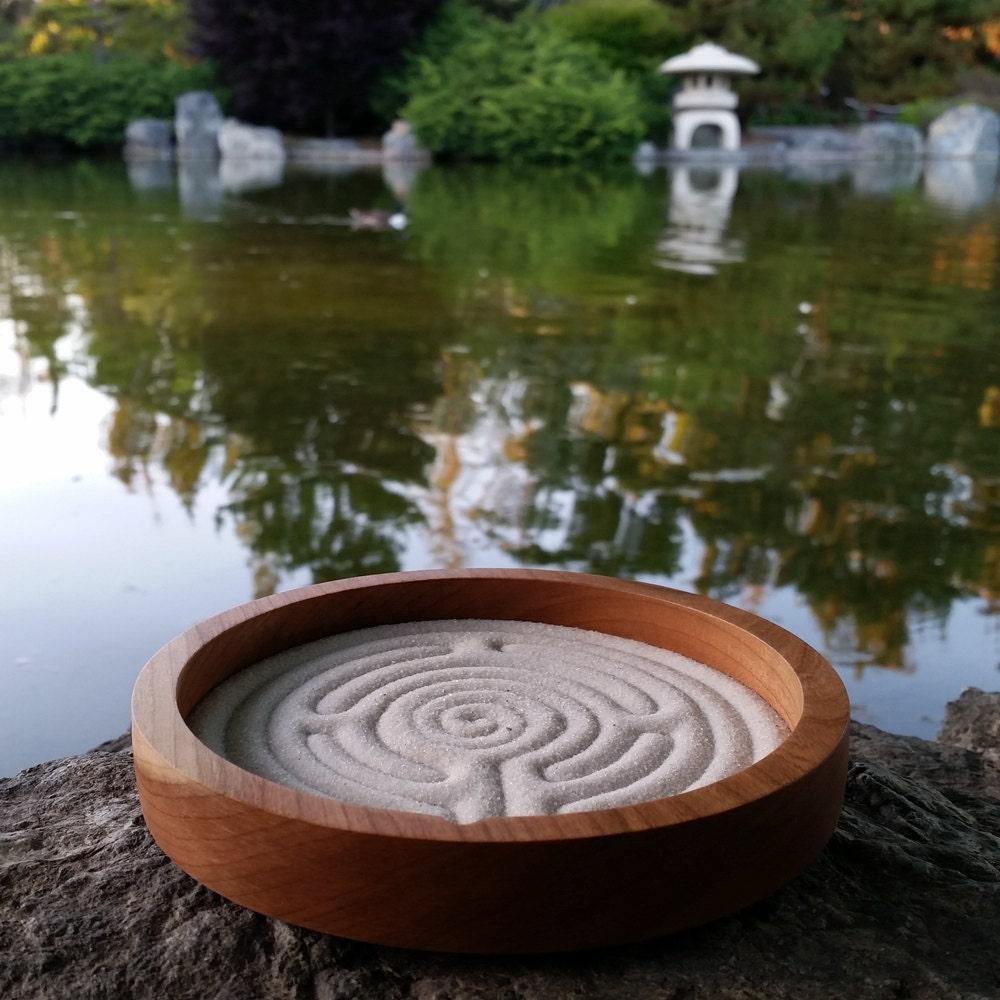 Zen Labyrinth, Sand Labyrinth, Solid Cherry wood, 6 inch circle