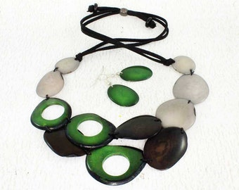 Green Statement Necklace and Earring Set - Grey and Green Necklace made of Tagua Nut - Great Gift Ideas for Women - Green Bead Necklace 1600