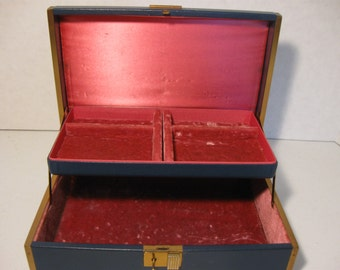 Vintage Farrington Blue Jewelry Box With Key Red Inside Gold Metal Trim Two Levels