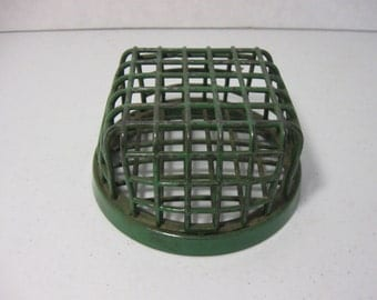 Antique Dazey Mfg. Co. Metal Flower Frog Green Cage Type