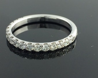 Pave' Diamond Wedding Band 1/2ctw In 14k white gold
