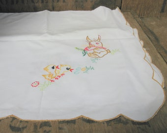 Rabbit Tablecloth   Embroidered Tablecloth   Square Tablecloth   Vintage  Tablecloth   Afternoon Tea   White