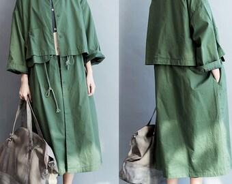 women loose coat/women cotton coat/women green coat/women spring cotton coat/-BQC0020
