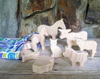 Wooden farm animal toys - Wooden animal toys for kids - Wooden toy animals - Toy farm animals - Miniature animal toys - Easter gift