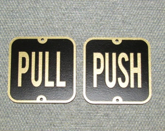 """PUSH and PULL 3"""" Door Signs Gold and Black"""