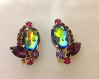 Vintage  Rhinestone Watermelon pink and purple Earrings