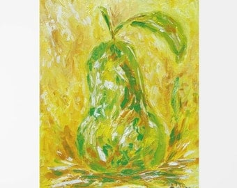 Still life oil painting Original painting Pear art Fruit oil painting Food painting Kitchen art Kitchen décor Canvas art Yellow art 8x10""