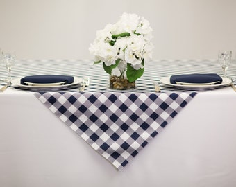 54 Inch Square Blue And White Checkered Gingham Polyester   Wedding Table  Overlay