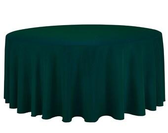 132 inch Round Satin Tablecloth Hunter Green | Wedding Tablecloth