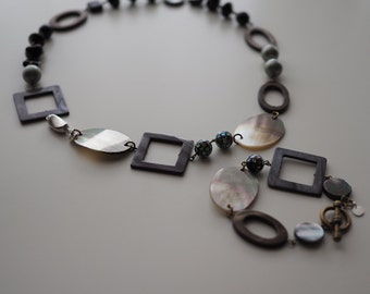 Necklace:  The Jolimont Necklace - N053 - natural seashell, Swarovski, mother of pearl, glass bead, black lip seashell, sterling silver