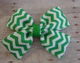 Emerald Green Chevron Pinwheel Hair Bow