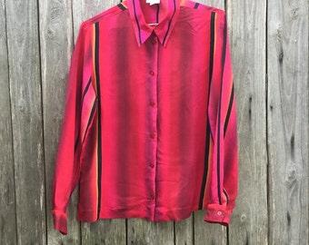 Shirt Vintage/ 90s/ woman/ size S/ 100% cupro/ multicolor/ stripes