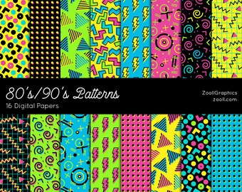 "80's/90's Patterns, 16 Digital Papers (12""x12""), Photoshop Pattern File .PAT Included, Seamless, Commercial Use INSTANT DOWNLOAD"