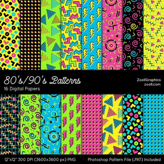 """80's/90's Patterns, Digital Paper, 16 Digital Papers (12""""x12""""), Photoshop Pattern File .PAT Included, Seamless, INSTANT DOWNLOAD"""