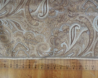 Destash- Fabric Remnant Brown Paisley Upholstery Fabric