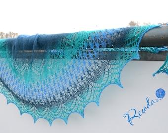 Lace cloth, scarf, shawl, stole, shawl, hand knitted, Aqua