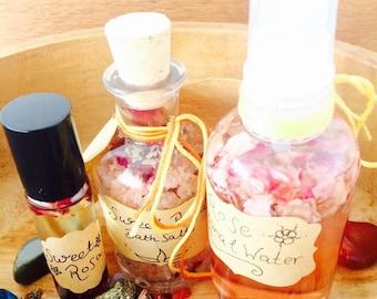 Sweet Rosa - Natural Body Care - Gift Set - Skin Care - Artisan Aromatherapy - Vegan - Natural Bath Set - Elixir