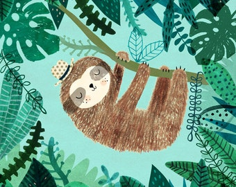 Sloth....Giclee print of an original illustration