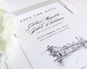 New York Skyline Save the Dates, NY Save the Date, NY Wedding, ny save the date cards, ny bridge, nyc wedding, custom  (set of 25 cards)
