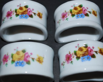 Vintage Napkin Rings Porcelain Napkin Rings Four Piece