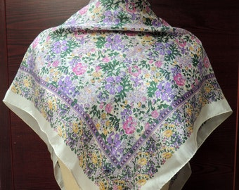 Retro Lavender Field of Flowers Silk Scarf: Valentines, Birthday, Mothers Day Gift. Purple Pink Green. 32 inch. Retro Gift Scarves SC-61