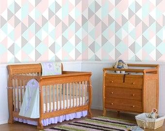 Triangles vinyl wallpaper, self adhesive, temporary, removable nursery mb039