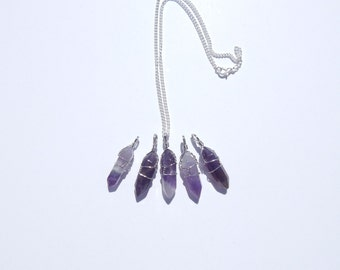 Amethyst Crystal Necklace, Wire Wrapped Amethyst Necklace, Wire Wrapped Crystal Necklace, Healing Crystal, Crystal Point Necklace, Amethyst